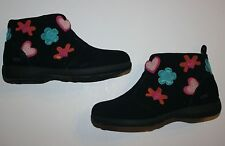New Umi Ranna Black Leather Floral Heart Applique Boots Size 13 or 12 UK 31 EUR