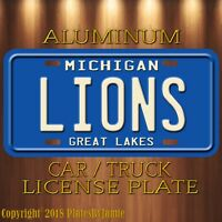 Detroit Lions Michigan Aluminum Metal License Plate Tag Football NFC NFL New II
