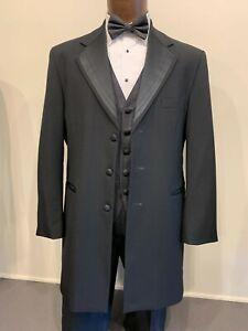 BLACK NUVO TUXEDO COAT Three Button Satin Notch Lapels - 35'' length