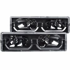 FOR 88-98 CHEVROLET C/K FULLSIZE LOW BROW STYLE CRYSTAL HEADLIGHTS BLACK CLEAR