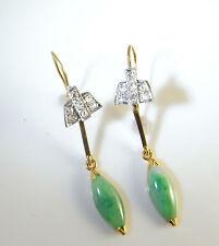 Jade Jadeite Diamond Earrings 18K Platinum Art Deco 1920s Antique Gatsby Green