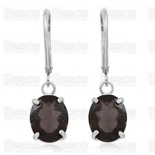 6.5ct SMOKY QUARTZ dropper earrings OVAL CUT solid Sterling Silver 925 UK GIFT