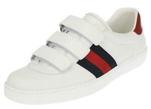 NEW GUCCI ACE MEN'S WHITE LEATHER WEB DEATIL LOGO SNEAKERS SHOES 9.5 G/US 10.5