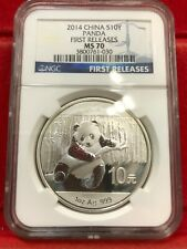2014 1oz Silver Chinese Panda, China PRC 10 Yuan, NGC MS 70 First Releases BLUE