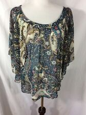 Justify Batwing Top ~ Large ~ Beige/Blue/Mauve Paisley