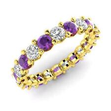 Neues Angebot2.03 Karat Amethyst Natürlicher Diamant Verlobungsring Rund 14K Gelbgold Größe M