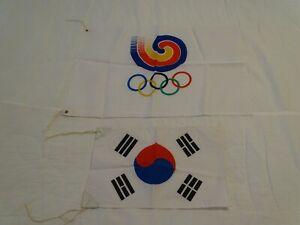 Lot of 2 Opening Cer 1988 Seoul Korea Olympics Flags Banner Korean Olympic Flag