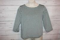 Chico's Travlers size 3 Women's Blouse Black White Geometric Print Stretch Top