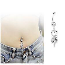 Clear Heart Dangle CZ Rhinestone Gem Belly Navel Ring Body Jewelry
