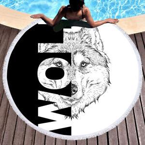 New European style black and white wolf head pattern beach furniture rug