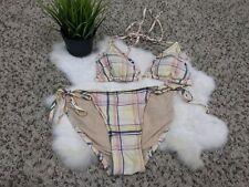 J.CREW Woman Swimwear Bathing Suit 2 Pcs Halter Padded Tied Sides Lined Sz M