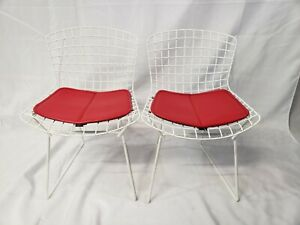 Pair of Vintage Bertoia Child's Chairs, White w/ Red Cushion Knoll WE SHIP