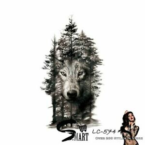 ULTIMATE TATTOO SHOP Wolf Tiger Monster Hunter Temporary Body Art Animal Sticker