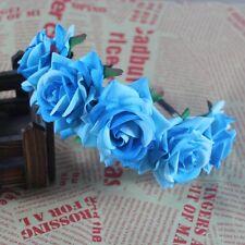 Boho Floral Crown Rose Flower Headband Hairband Wedding Hair Garland Headpiece