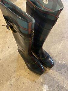 Lauren Ralph Lauren Womens Plaid Rossalyn Rain Boots Multi Colored Size 10