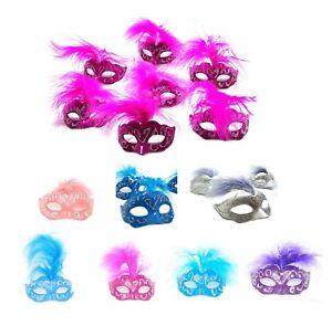 12 Piece Set Feather Masquerade Mask (Mini Mardi Gras) Party Wedding Decoration
