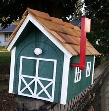 Amish Crafted Hunter Green/White Trim Barn Style Mailbox - Lancaster County Pa