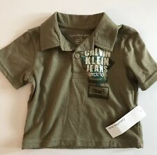 CALVIN KLEIN JEANS Boys' Buttoned Short Sleeve Knit Shirt OLIVE Size 12M NEW Tag