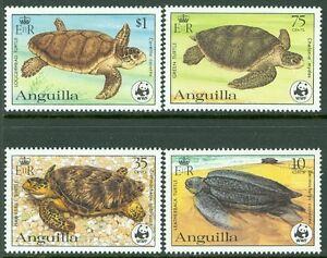 ANGUILLA : 1983. Scott #537-40 WWF & Turtles. Very Fine, Mint NH. Catalog $35.00