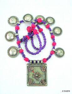 antique ethnic tribal old silver pendant necklace belly dance vintage jewelry