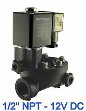 """1/2"""" Inch PA66 Plastic Electric Air Water Solenoid Valve Manual Override 12V DC"""