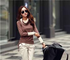 Damenblusen, - tops & -shirts mit Rollkragen aus Baumwolle in Größe 42