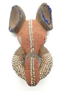 VINTAGE AFRICAN BAMILEKE CAMEROON WOODEN ELEPHANT MASK - CLAY & GLASS BEADS