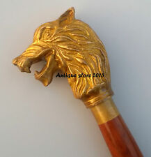 VINTAGE Victorian Wolf Designer Handle Walking Stick Wood Cane Christmas Gift