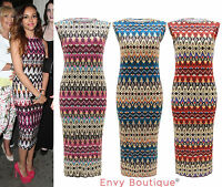 Ladies Celebrity Gold Foil Aztec Print Womens Bodycon Midi 3/4 Maxi Dress 6-12