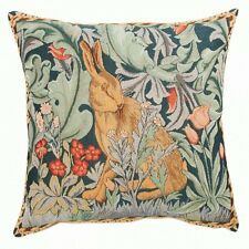 French Tapestry Decorative Throw Pillow Cushion Cover 14x14 Rabbit Morris Cotton