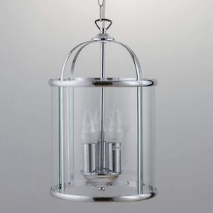 First Choice Alicia 3-Light Ceiling Pendant Lantern Style Chrome Clear Glass