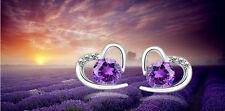 Ohrstecker Ohrring Herz Symbol der Liebe mit Kristall lila Sterling Silber 925