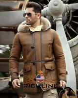 Men's RAF B3 Bomber Flight Aviator Shearling Sheep Skin Leather Jacket Coat