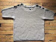 J.Crew Sweater Wool Blend Button Accents Short Sleeved Sz L Large Brown bx28