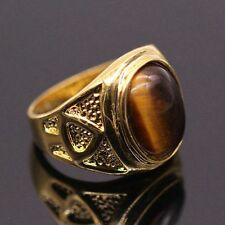 Random Carve Tigers Eye Brown Big Ring For Women/Men 24KGP Fashion Ring Size 12
