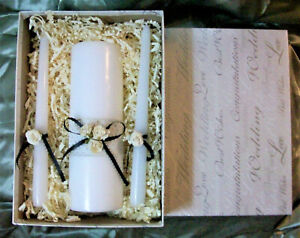 Traditional Black & White 3 Pc Wedding Unity Candle Set In Beautiful Wedding Box