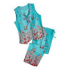 La Cera Women's Aqua Roses Pajamas - Blue PJ Sleeveless Shirt Capri Pants Set