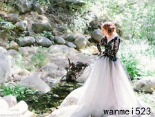 Tulle Black and White Gothic Wedding Dress V Neck Bridal Gown Custom Size 4-26+