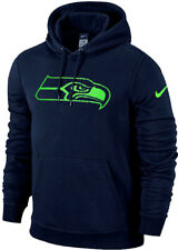 Nike SEATTLE SEAHAWKS Charged Up Lined Big Logo Fleece Pullover Cotton Hoodie