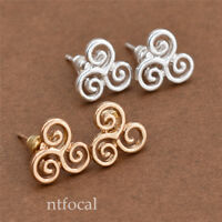 Chic Metal Celtic Triquetra Stud Earrings Jewerly for Womens Girls Gold/Silver