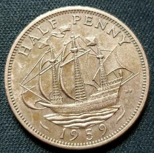 1959 Great Britain Half Penny Queen Elizabeth II sailing ship Age 62 is KM#896 .