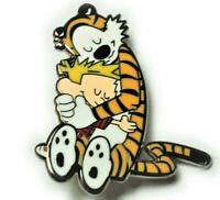 Calvin and Hobbes Hugging Friends Comic Cartoon Hat Jacket Tie Tack Lapel Pin