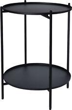 Metall Beistelltisch schwarz 50x35 cm - 2 Ablagen / klappbar - Couchtisch Tisch