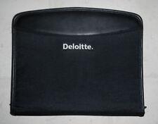 New Deloitte Amp Touche Company Logo Zippered Black Padfolio Notebook Organizer
