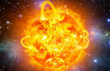 Enmarcado impresión caos de un sol ardiente caliente (imagen galaxy universo Sistema Solar)