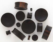 Pair 6G 4mm Black Areng Organic Natural Wood Concave Saddle Plugs Ear Gauges 106