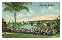 1948 Venetian Gardens Lake Harris Leesburg FL Florida Linen Postcard