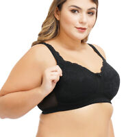 Women's Cotton Full Coverage Wirefree Non-padded Lace Trim Plus Size Bra BCD E F