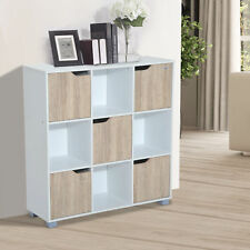 Homcom Wooden Storage Unit 9 Cube System Open Doors Bookshelf