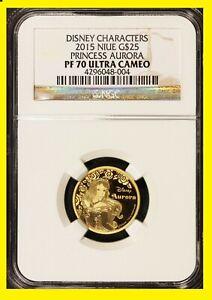 2015 Disney Character $25 1/4 oz Gold Princess Aurora NGC PF 70 UC